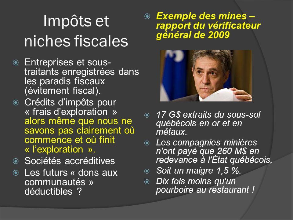 Impôts et niches fiscales Entreprises et sous- traitants enregistrées dans les paradis fiscaux (évitement fiscal). Crédits dimpôts pour « frais dexplo