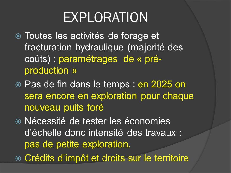 EXPLORATION Toutes les activités de forage et fracturation hydraulique (majorité des coûts) : paramétrages de « pré- production » Pas de fin dans le t