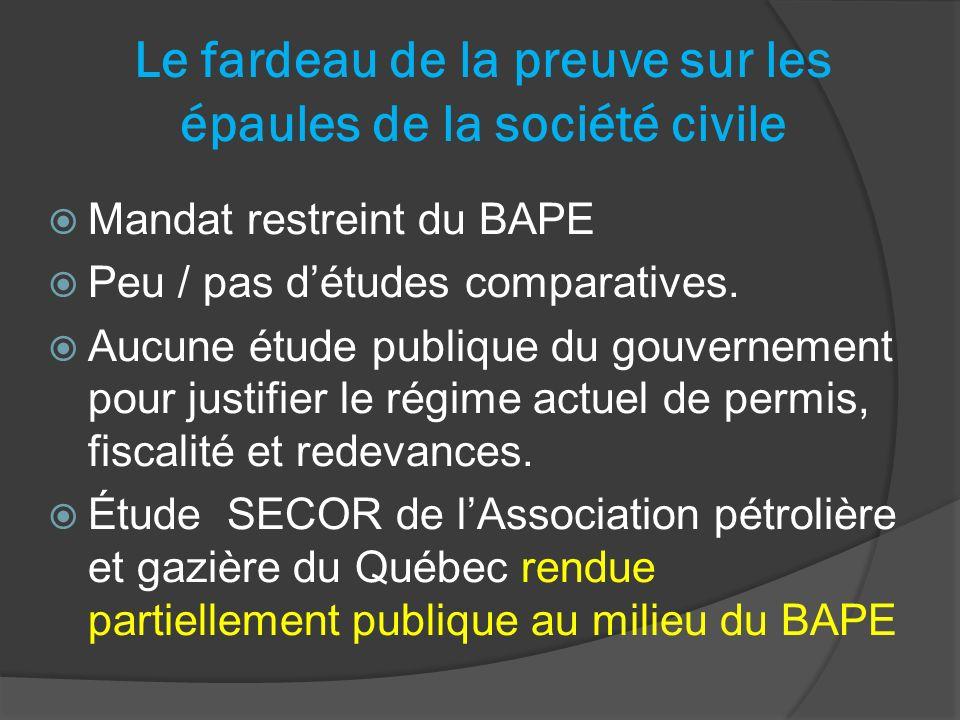 Le fardeau de la preuve sur les épaules de la société civile Mandat restreint du BAPE Peu / pas détudes comparatives.