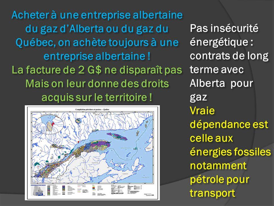 Acheter à une entreprise albertaine du gaz dAlberta ou du gaz du Québec, on achète toujours à une entreprise albertaine ! La facture de 2 G$ ne dispar