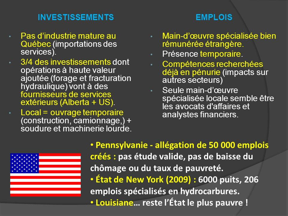 EMPLOIS Main-dœuvre spécialisée bien rémunérée étrangère. Présence temporaire. Compétences recherchées déjà en pénurie (impacts sur autres secteurs) S