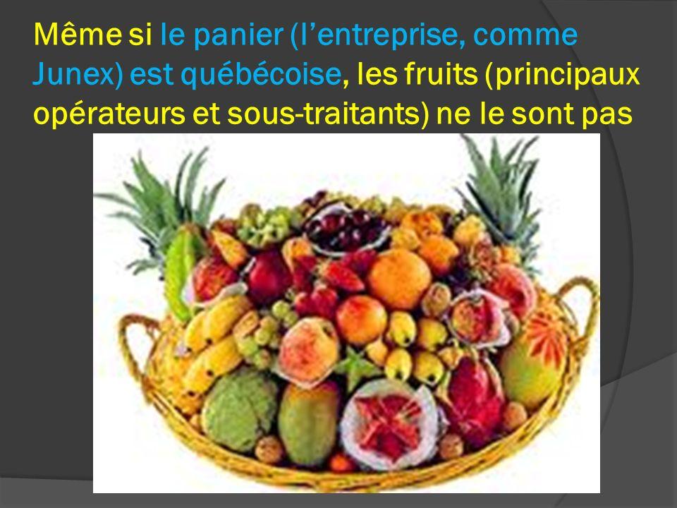 Même si le panier (lentreprise, comme Junex) est québécoise, les fruits (principaux opérateurs et sous-traitants) ne le sont pas
