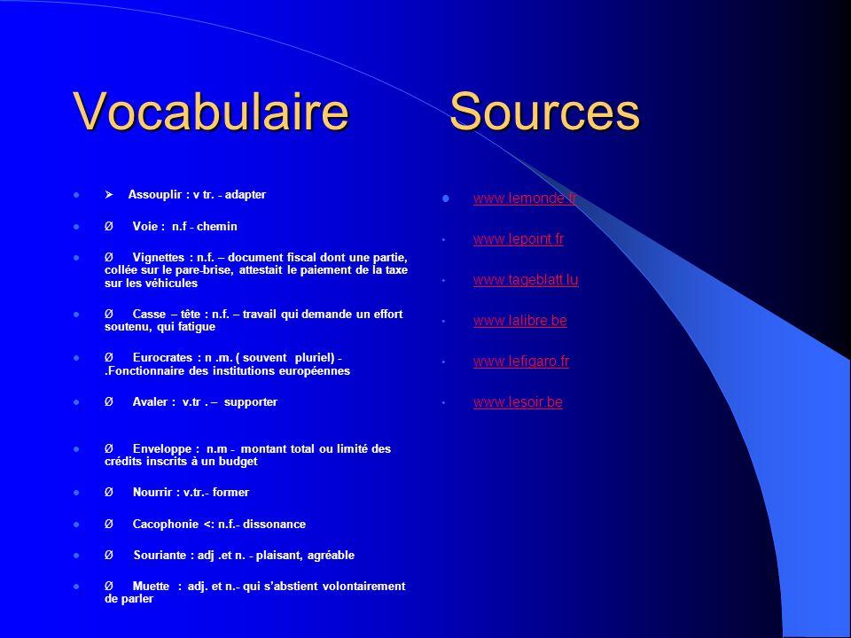 Vocabulaire Sources Assouplir : v tr. - adapter Ø Voie : n.f - chemin Ø Vignettes : n.f.