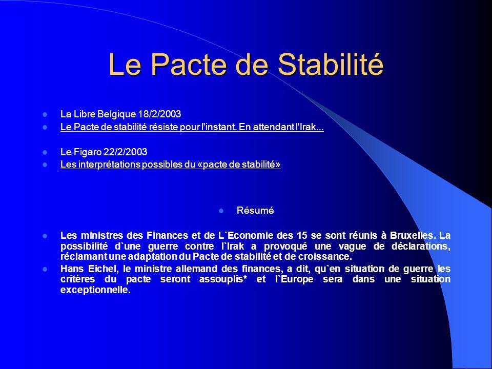 Le Pacte de Stabilité La Libre Belgique 18/2/2003 Le Pacte de stabilité résiste pour l instant.