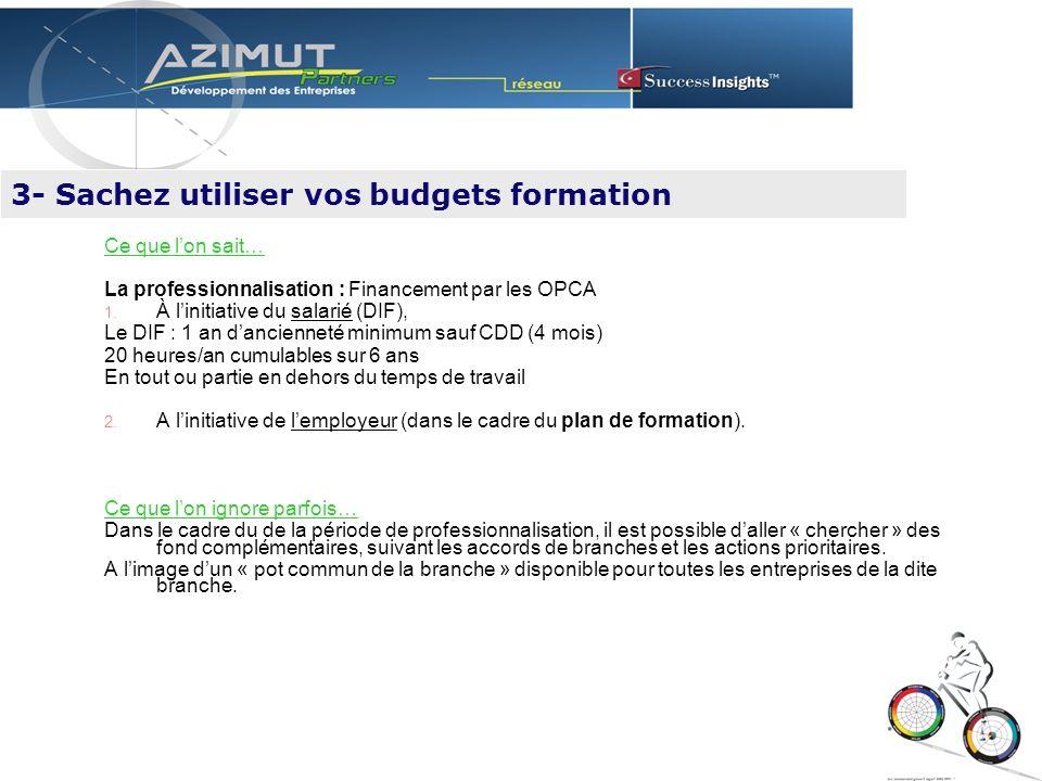 Ce que lon sait… La professionnalisation : Financement par les OPCA 1.