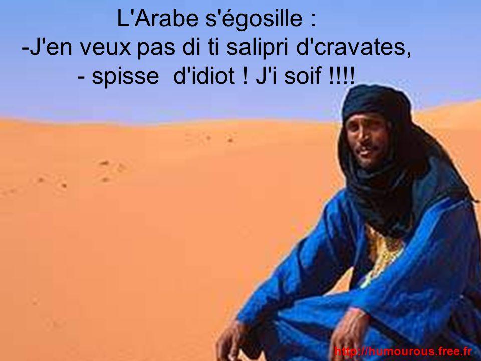 L'Arabe s'égosille : -J'en veux pas di ti salipri d'cravates, - spisse d'idiot ! J'i soif !!!! http://humourous.free.fr