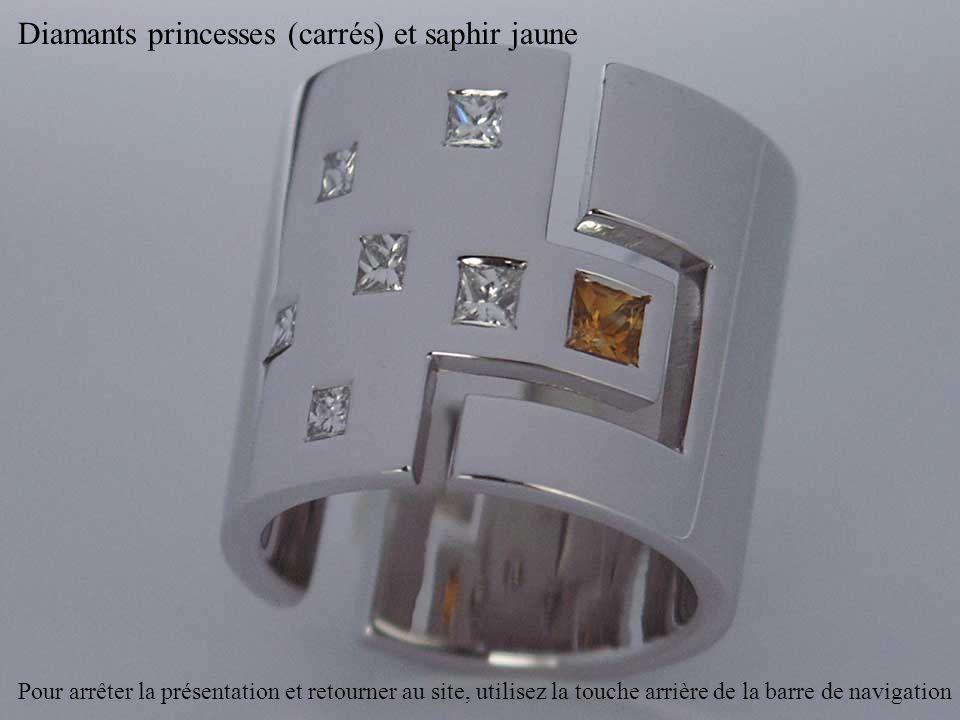 Diamants princesses (carrés) et saphir jaune Pour arrêter la présentation et retourner au site, utilisez la touche arrière de la barre de navigation