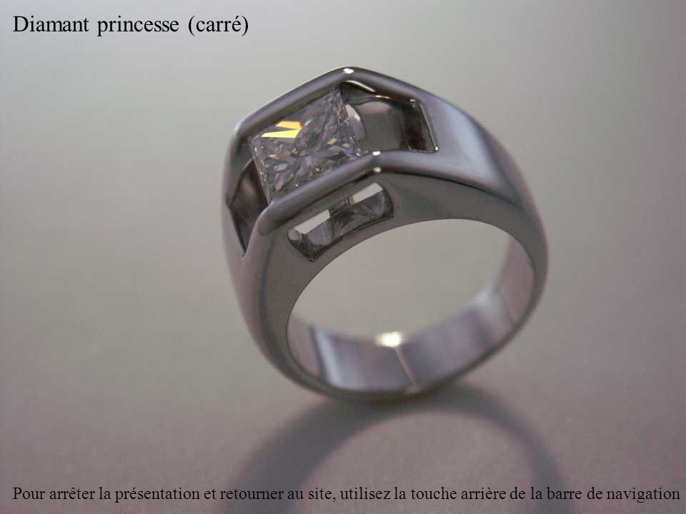 Diamant taille émeraude (rectangulaire) et améthystes Pour arrêter la présentation et retourner au site, utilisez la touche arrière de la barre de navigation
