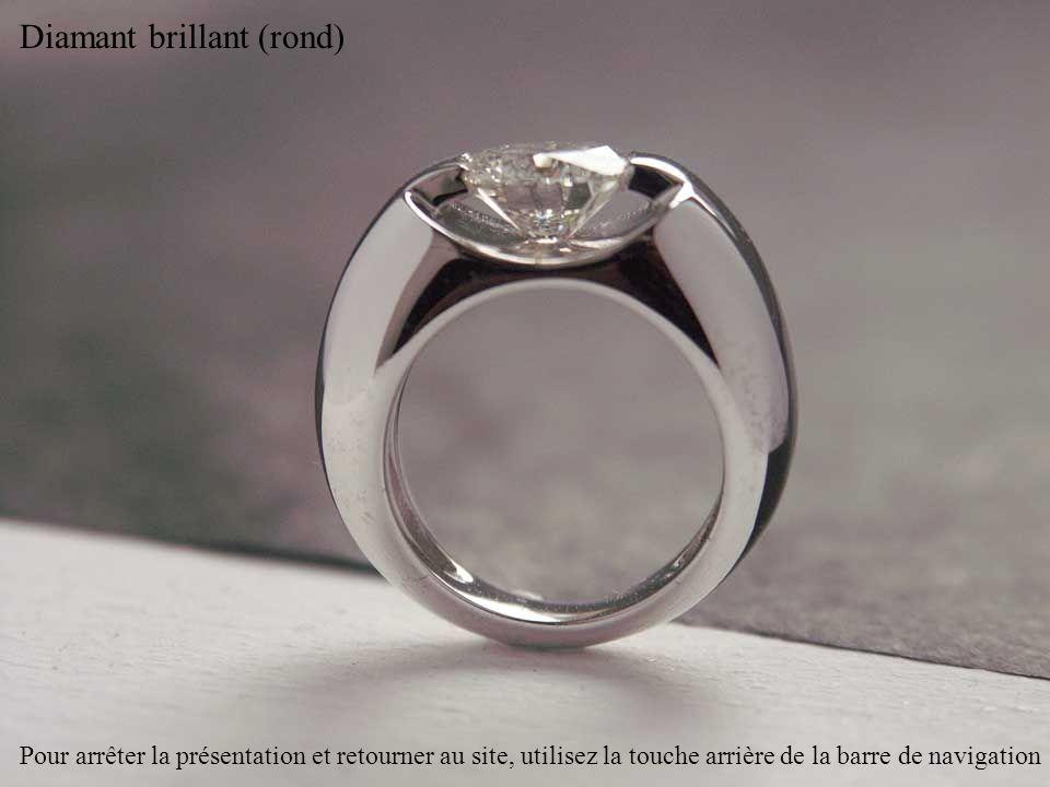 Diamants radiant (carré à angles coupés) et brillants Pour arrêter la présentation et retourner au site, utilisez la touche arrière de la barre de navigation