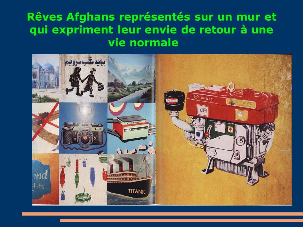 Rê Rêves Afghans représentés sur un mur et qui expriment leur envie de retour à une vie normale