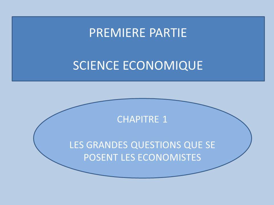 PREMIERE PARTIE SCIENCE ECONOMIQUE CHAPITRE 1 LES GRANDES QUESTIONS QUE SE POSENT LES ECONOMISTES