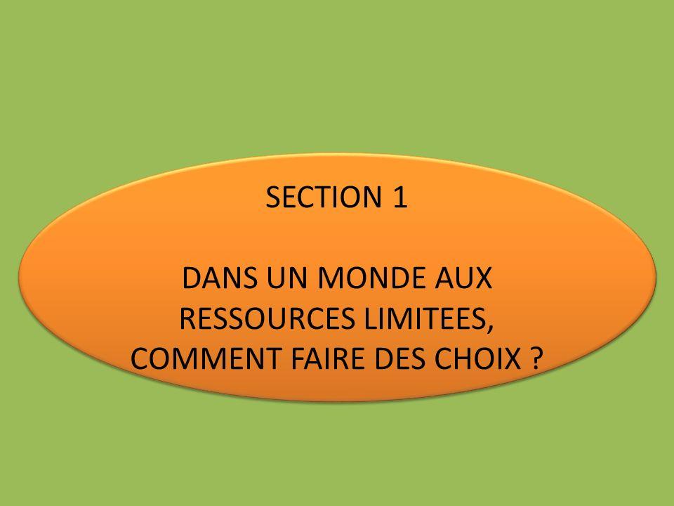 SECTION 1 DANS UN MONDE AUX RESSOURCES LIMITEES, COMMENT FAIRE DES CHOIX ? SECTION 1 DANS UN MONDE AUX RESSOURCES LIMITEES, COMMENT FAIRE DES CHOIX ?