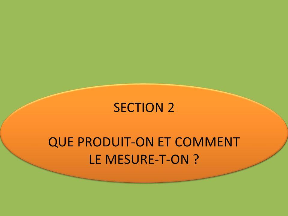 SECTION 2 QUE PRODUIT-ON ET COMMENT LE MESURE-T-ON ? SECTION 2 QUE PRODUIT-ON ET COMMENT LE MESURE-T-ON ?