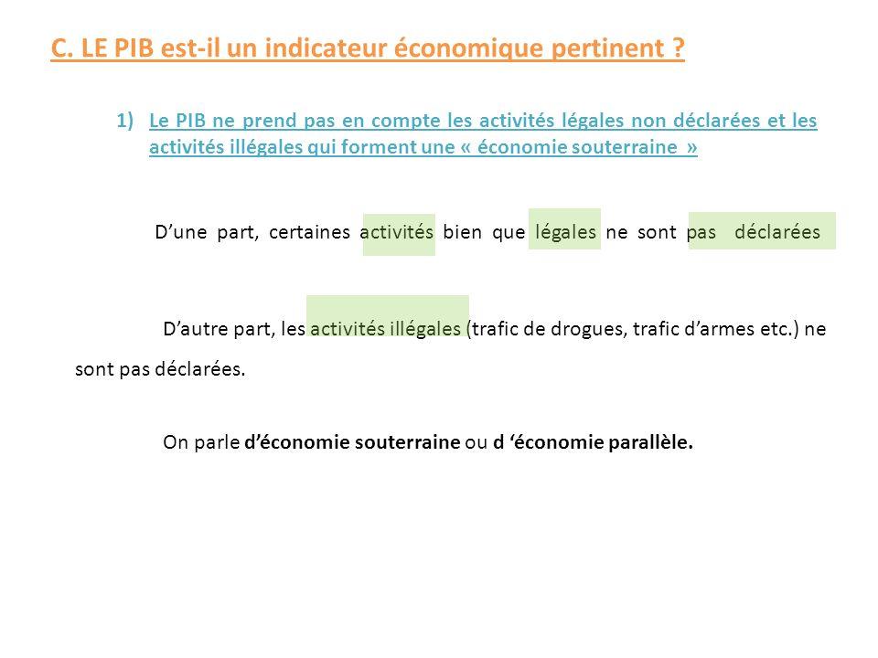 1)Le PIB ne prend pas en compte les activités légales non déclarées et les activités illégales qui forment une « économie souterraine » Dune part, cer