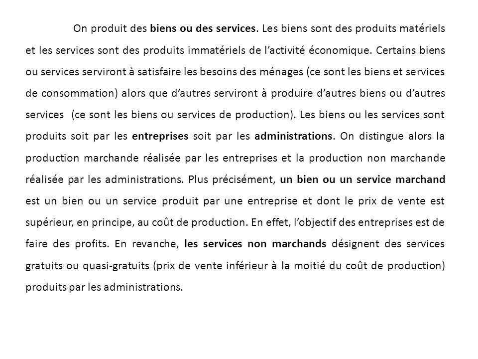 On produit des biens ou des services. Les biens sont des produits matériels et les services sont des produits immatériels de lactivité économique. Cer