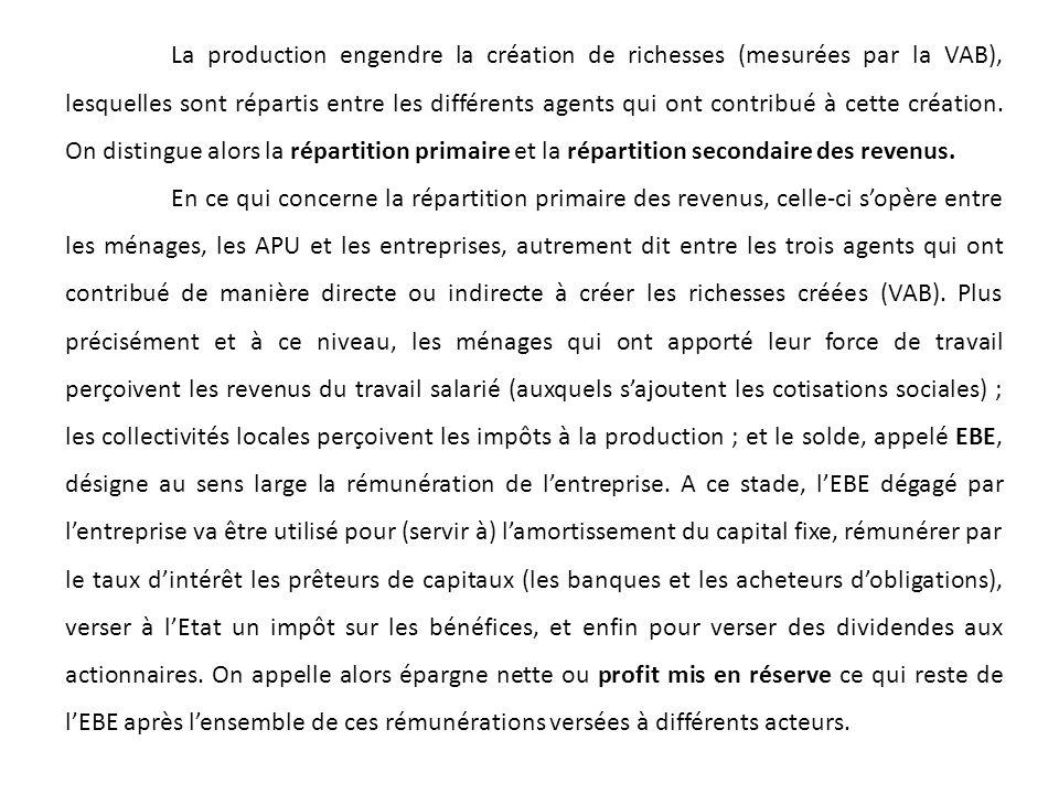 La production engendre la création de richesses (mesurées par la VAB), lesquelles sont répartis entre les différents agents qui ont contribué à cette