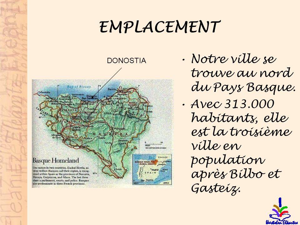 EMPLACEMENT Notre ville se trouve au nord du Pays Basque. Avec 313.000 habitants, elle est la troisième ville en population après Bilbo et Gasteiz. DO