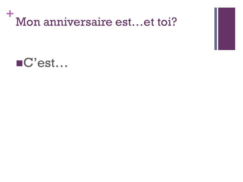 + Mon anniversaire est…et toi Cest…