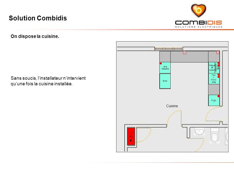 Solution Combidis Sans soucis, linstallateur nintervient quune fois la cuisine installée. On dispose la cuisine. Cuisine Four + Micro- onde Plaque de