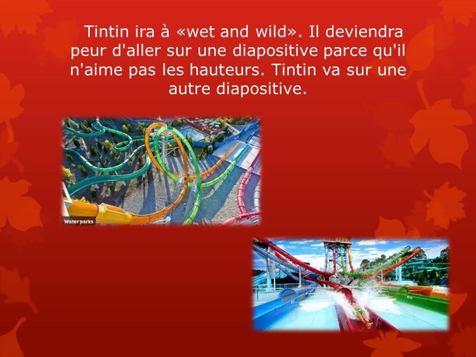 Tintin ira à «wet and wild». Il deviendra peur d'aller sur une diapositive parce qu'il n'aime pas les hauteurs. Tintin va sur une autre diapositive.