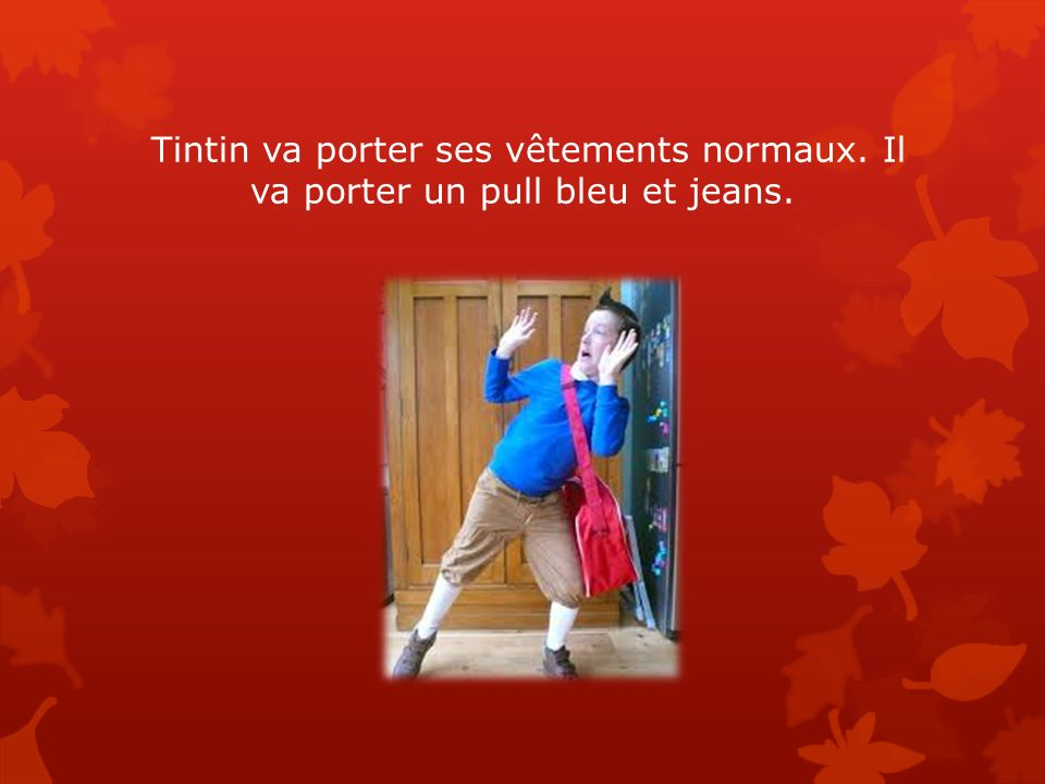 Tintin va porter ses vêtements normaux. Il va porter un pull bleu et jeans.
