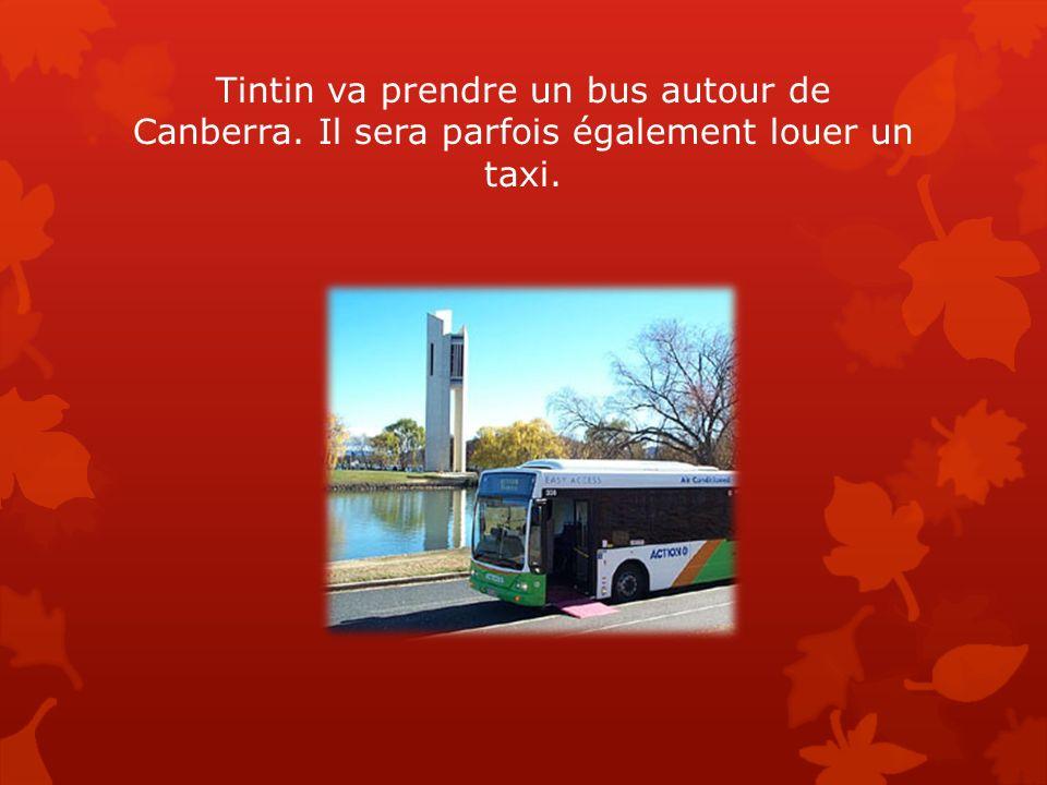 Tintin va prendre un bus autour de Canberra. Il sera parfois également louer un taxi.