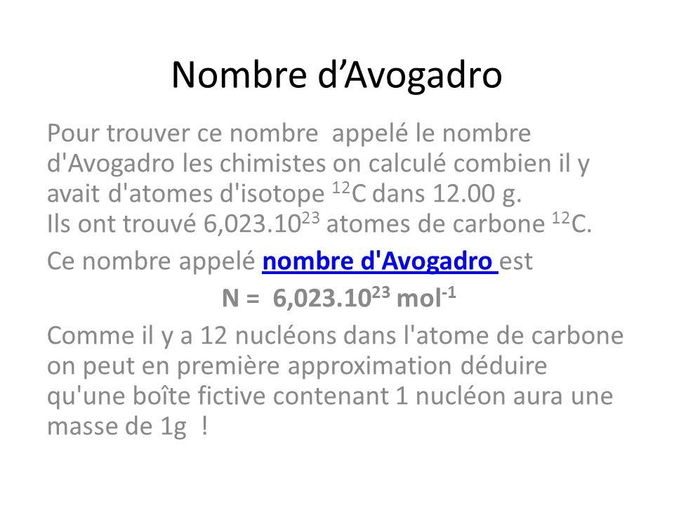 Nombre dAvogadro Pour trouver ce nombre appelé le nombre d'Avogadro les chimistes on calculé combien il y avait d'atomes d'isotope 12 C dans 12.00 g.