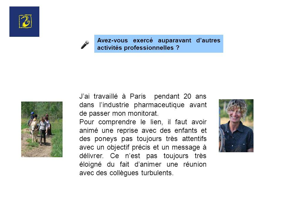 Jai travaillé à Paris pendant 20 ans dans lindustrie pharmaceutique avant de passer mon monitorat.