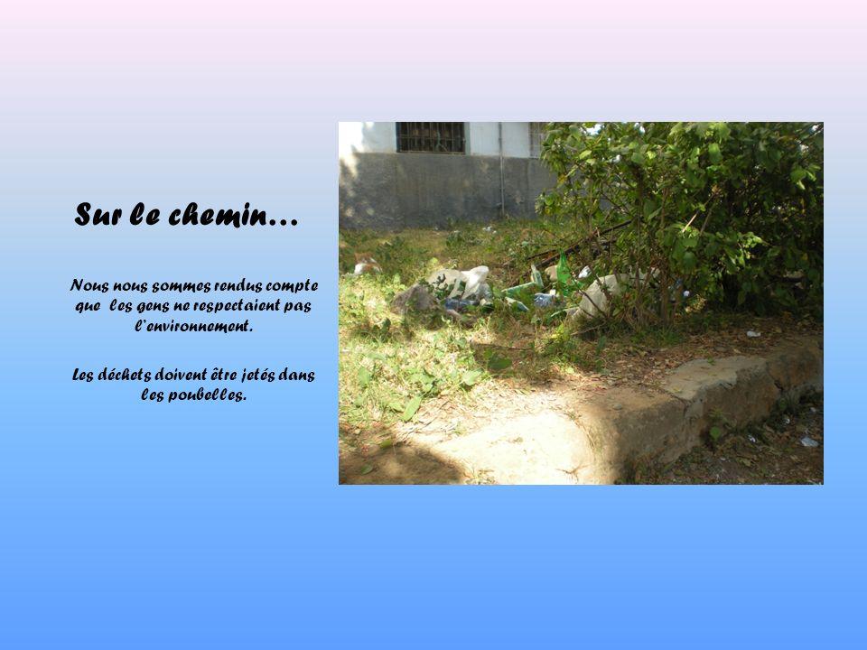 Sur le chemin… Nous nous sommes rendus compte que les gens ne respectaient pas lenvironnement. Les déchets doivent être jetés dans les poubelles.
