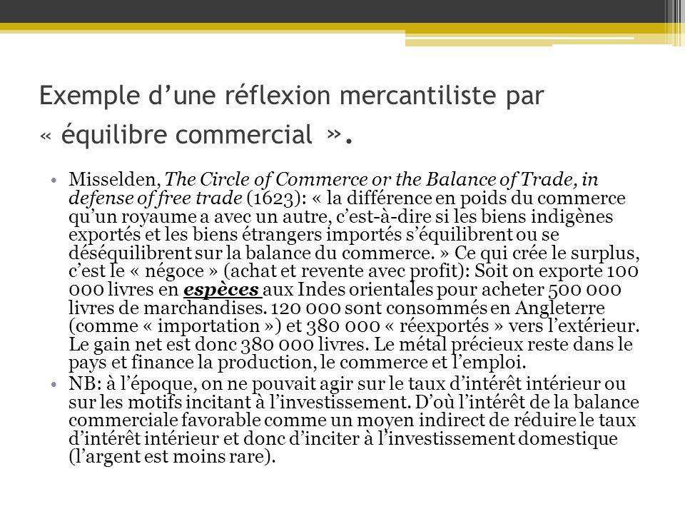 Exemple dune réflexion mercantiliste par « équilibre commercial ».