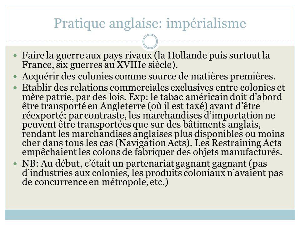 Pratique anglaise: impérialisme Faire la guerre aux pays rivaux (la Hollande puis surtout la France, six guerres au XVIIIe siècle). Acquérir des colon
