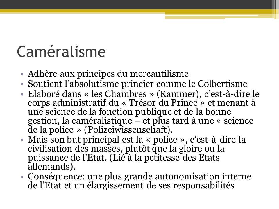 Caméralisme Adhère aux principes du mercantilisme Soutient labsolutisme princier comme le Colbertisme Elaboré dans « les Chambres » (Kammer), cest-à-d