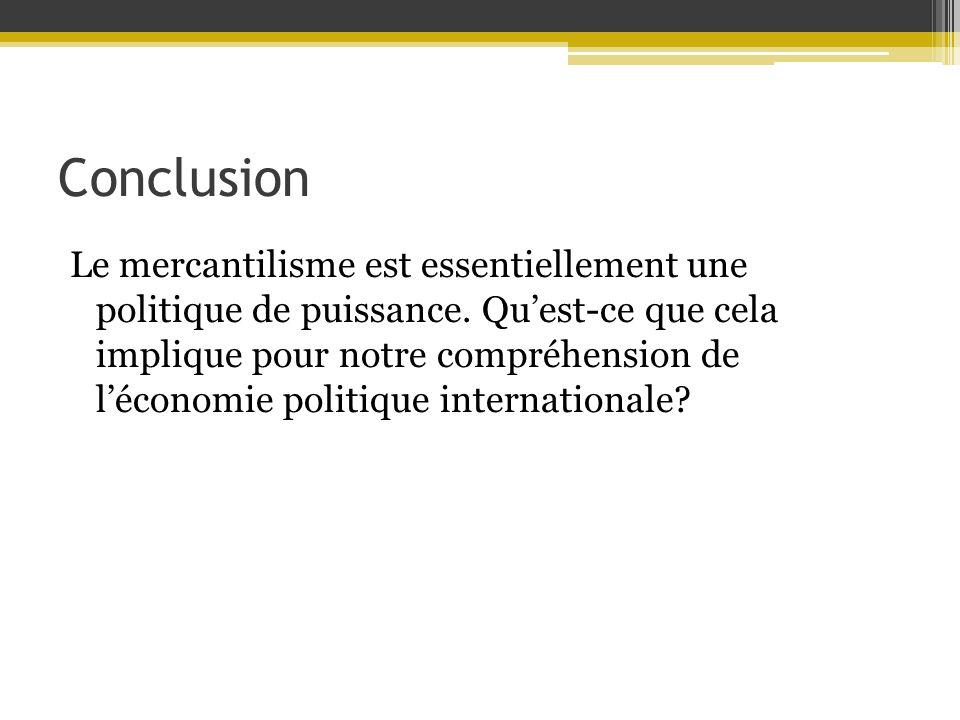 Conclusion Le mercantilisme est essentiellement une politique de puissance. Quest-ce que cela implique pour notre compréhension de léconomie politique