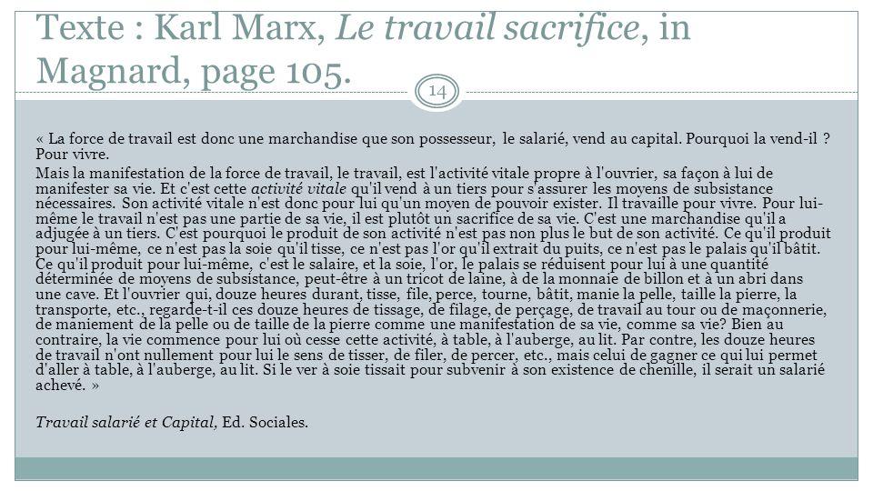 Exercice : le concept de « travail » Lisez le texte de Karl Marx de la page 105 reproduit sur la diapositive suivante.