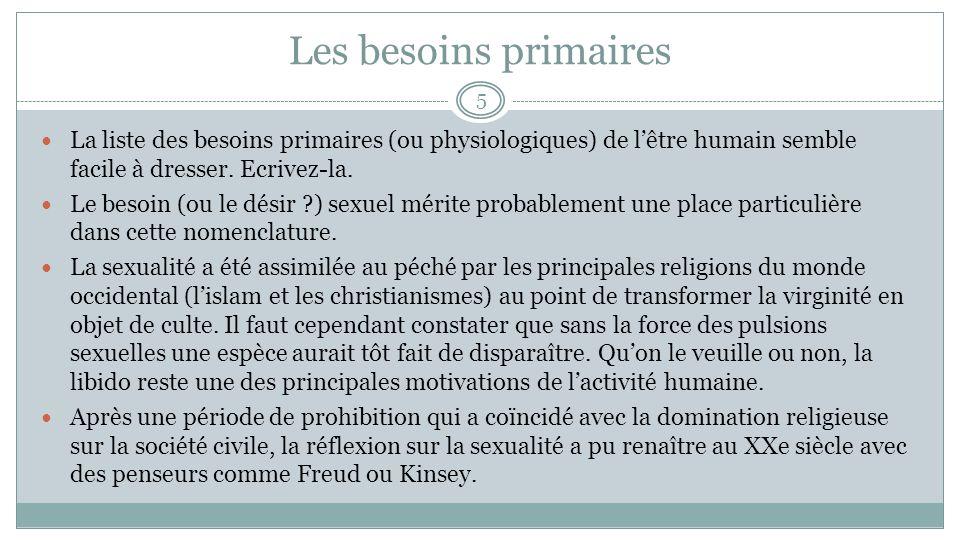 Les besoins primaires La liste des besoins primaires (ou physiologiques) de lêtre humain semble facile à dresser.