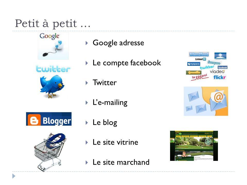 Petit à petit … Google adresse Le compte facebook Twitter Le-mailing Le blog Le site vitrine Le site marchand