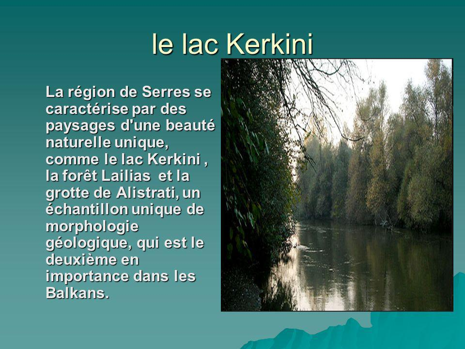 le lac Kerkini La région de Serres se caractérise par des paysages d une beauté naturelle unique, comme le lac Kerkini, la forêt Lailias et la grotte de Alistrati, un échantillon unique de morphologie géologique, qui est le deuxième en importance dans les Balkans.
