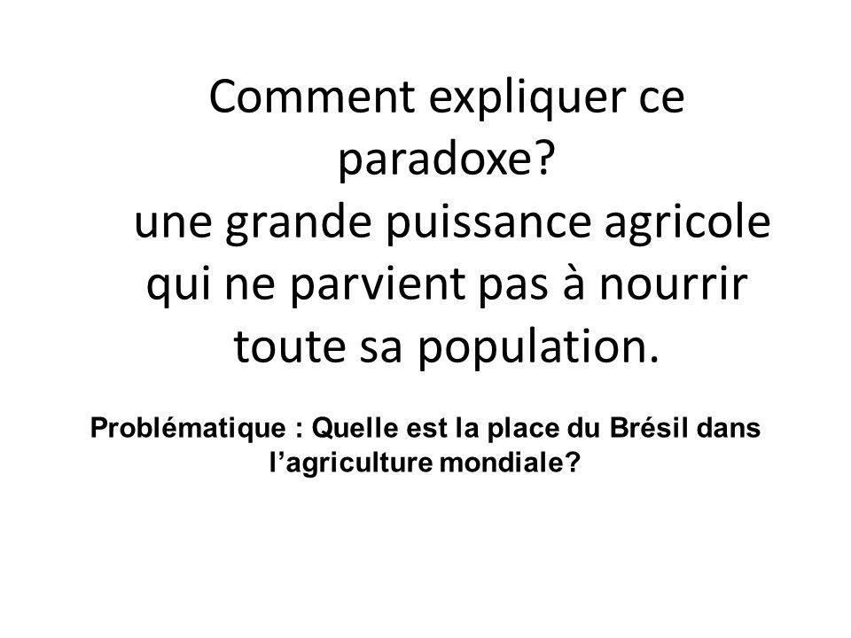 Comment expliquer ce paradoxe? une grande puissance agricole qui ne parvient pas à nourrir toute sa population. Problématique : Quelle est la place du