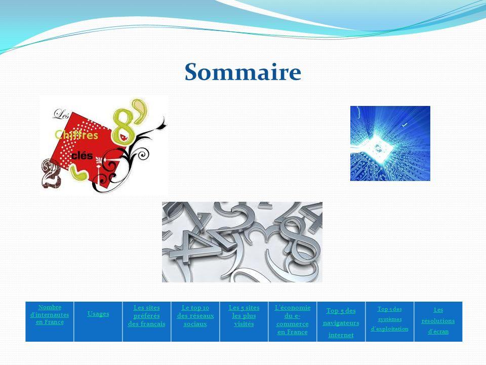 Sommaire Nombre dinternautes en France Usages Les sites préférés des français Le top 10 des réseaux sociaux Les 5 sites les plus visités Léconomie du