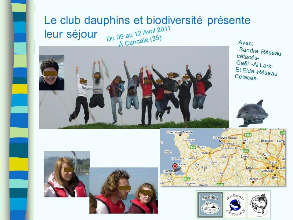 Le club dauphins et biodiversité présente leur séjour Avec: Sandra -Réseau cétacés- Gaël -Al Lark- Et Elda -Réseau Cétacés- Du 09 au 12 Avril 2011 À C