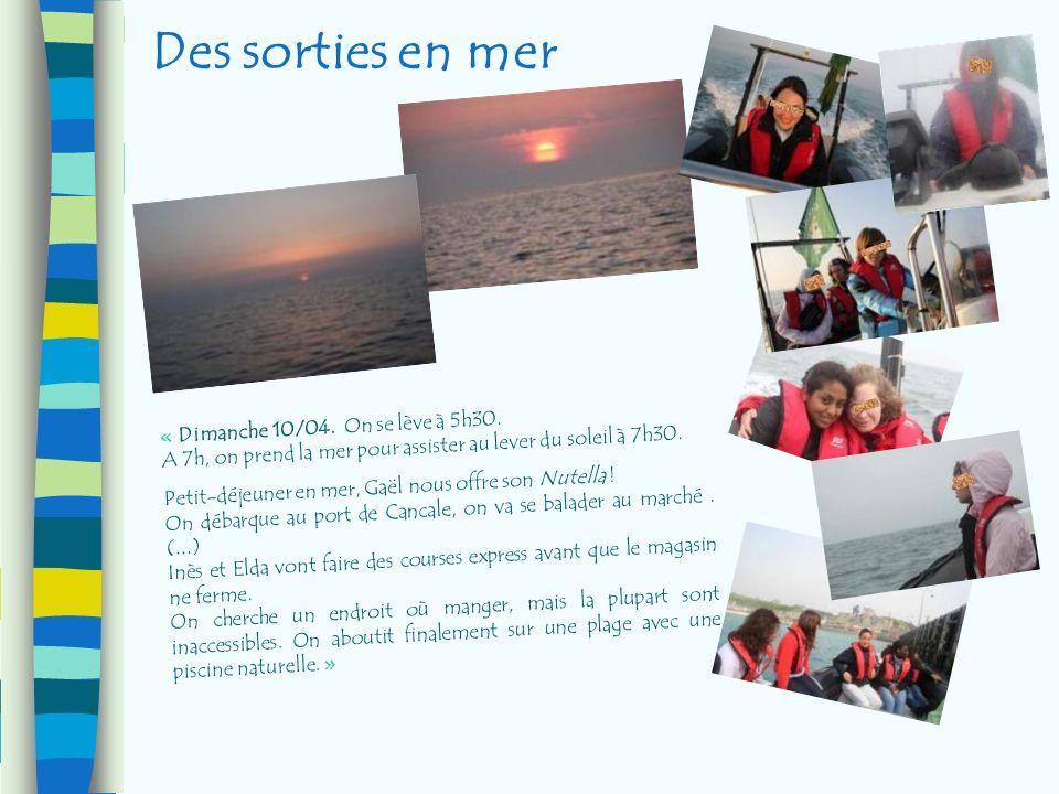 Des sorties en mer « Dimanche 10/04. On se lève à 5h30. A 7h, on prend la mer pour assister au lever du soleil à 7h30. Petit-déjeuner en mer, Gaël nou