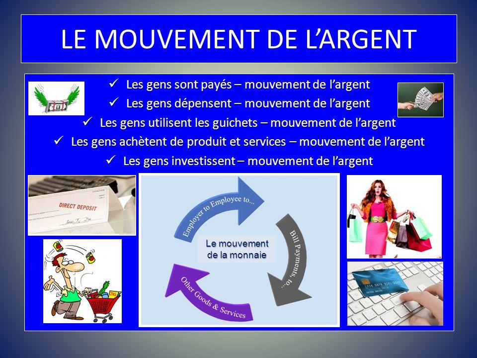 LE MOUVEMENT DE LARGENT Les gens sont payés – mouvement de largent Les gens sont payés – mouvement de largent Les gens dépensent – mouvement de largen