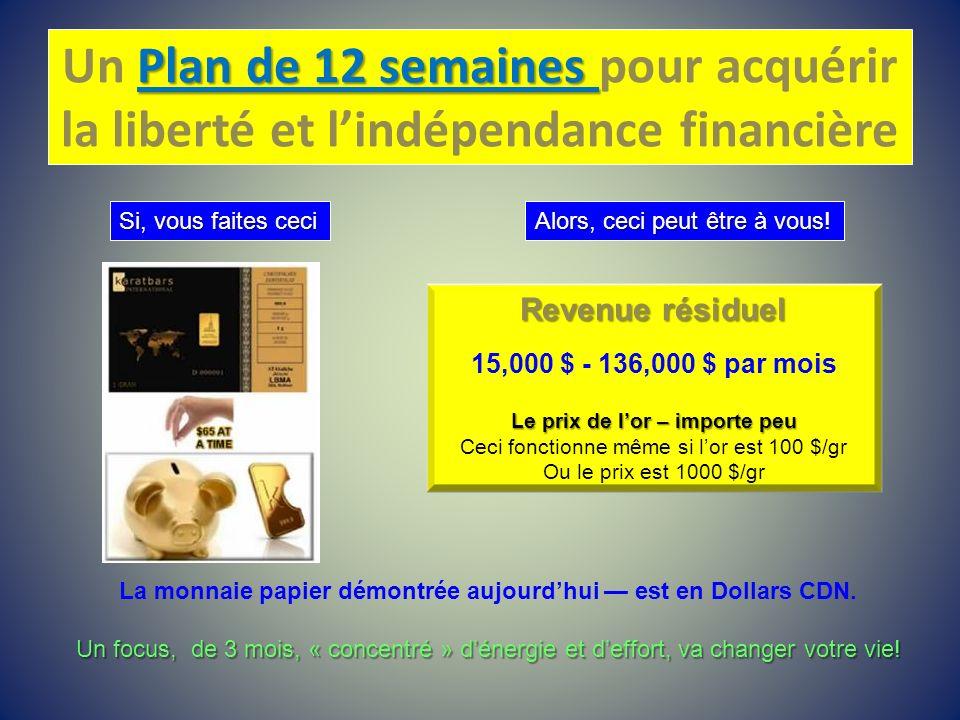 Plan de 12 semaines Un Plan de 12 semaines pour acquérir la liberté et lindépendance financière Si, vous faites ceci Alors, ceci peut être à vous Alor