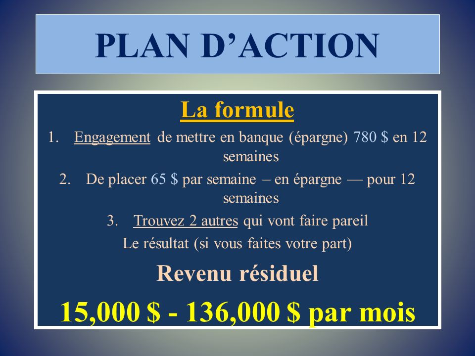 PLAN DACTION La formule 1.Engagement de mettre en banque (épargne) 780 $ en 12 semaines 2.De placer 65 $ par semaine – en épargne pour 12 semaines 3.T