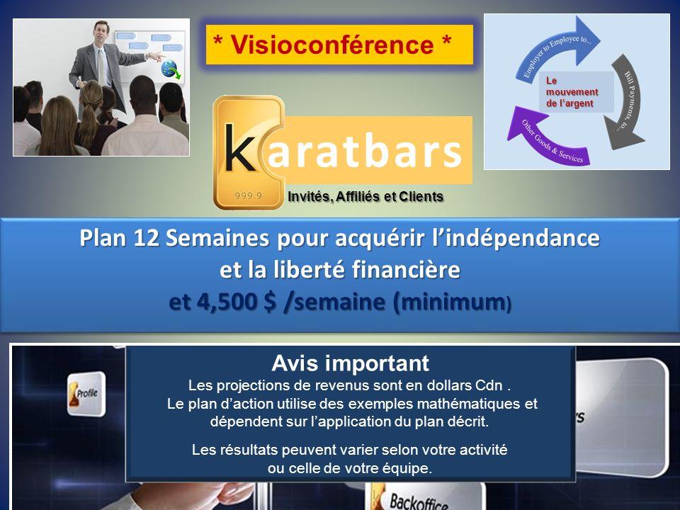 aratbars Invités, Affiliés et Clients * Visioconférence * Plan 12 Semaines pour acquérir lindépendance et la liberté financière et 4,500 $ /semaine (m