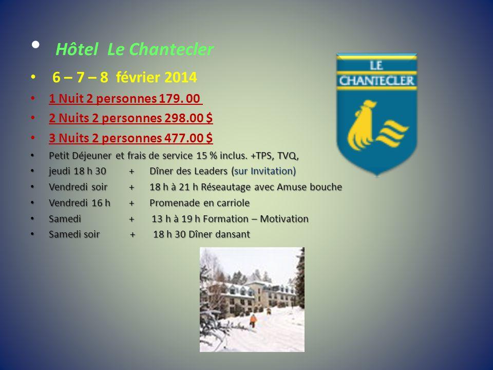 Hôtel Le Chantecler 6 – 7 – 8 février 2014 1 Nuit 2 personnes 179. 00 2 Nuits 2 personnes 298.00 $ 3 Nuits 2 personnes 477.00 $ Petit Déjeuner et frai