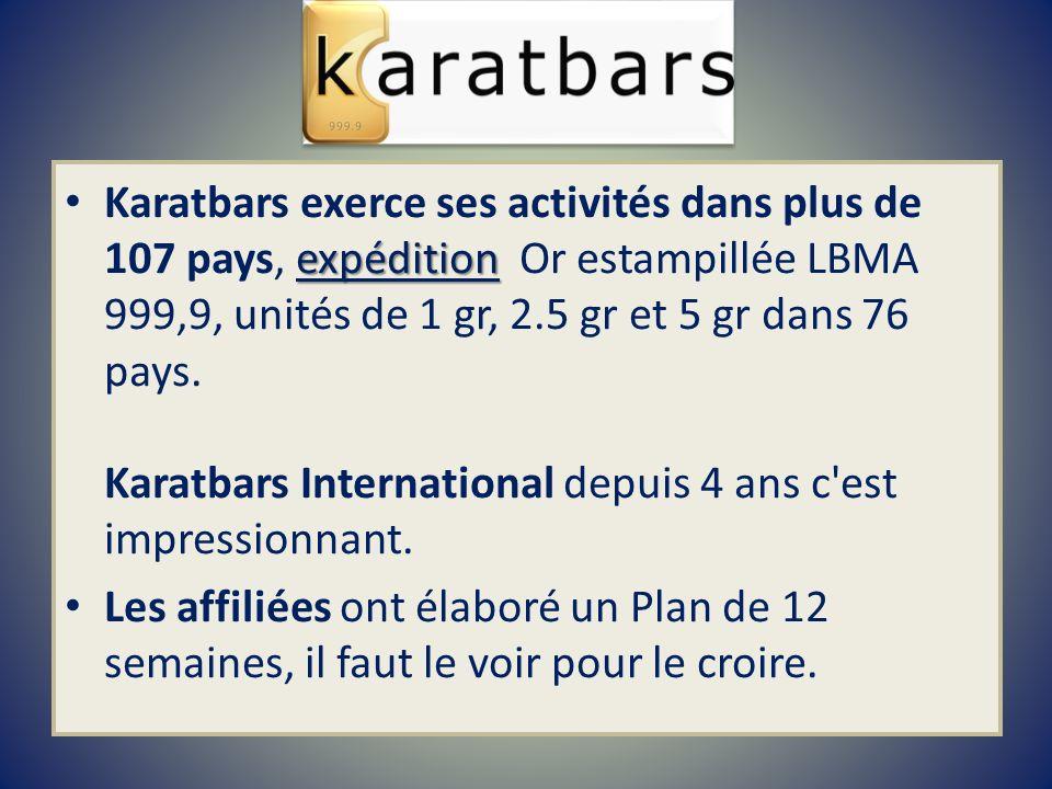 expédition Karatbars exerce ses activités dans plus de 107 pays, expédition Or estampillée LBMA 999,9, unités de 1 gr, 2.5 gr et 5 gr dans 76 pays. Ka