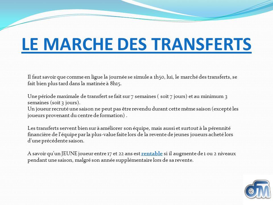 LE MARCHE DES TRANSFERTS Il faut savoir que comme en ligue la journée se simule a 1h50, lui, le marché des transferts, se fait bien plus tard dans la