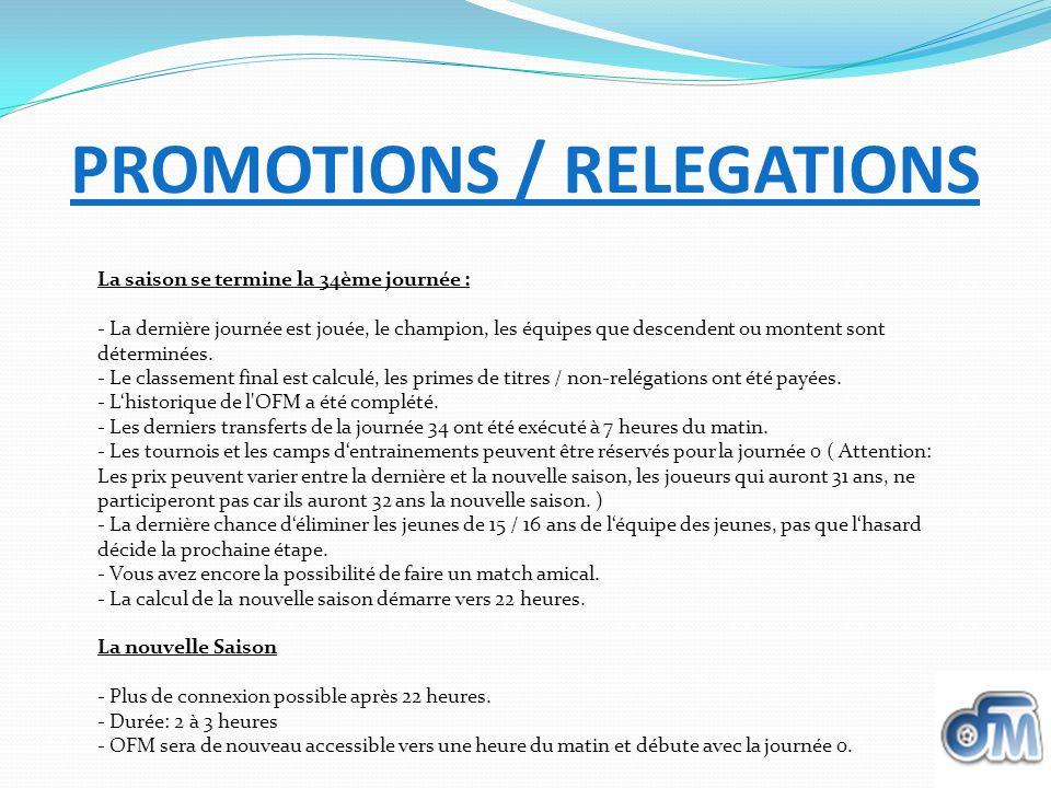 PROMOTIONS / RELEGATIONS La saison se termine la 34ème journée : - La dernière journée est jouée, le champion, les équipes que descendent ou montent s