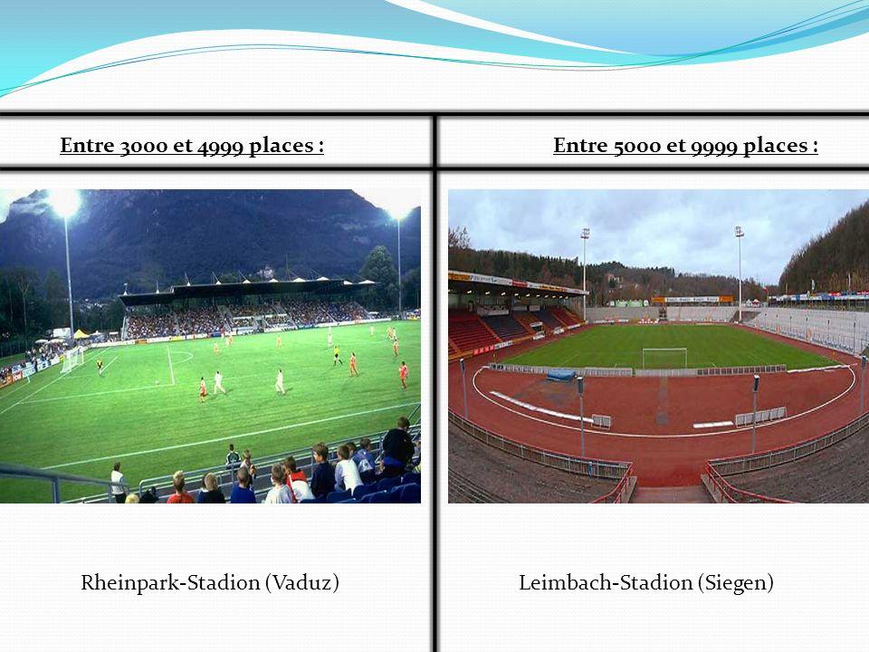 Entre 3000 et 4999 places :Entre 5000 et 9999 places : Rheinpark-Stadion (Vaduz)Leimbach-Stadion (Siegen)